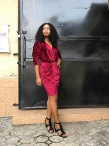 DIY Velvet front twist dress